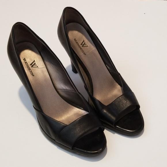 Worthington Open Toe Black Heels